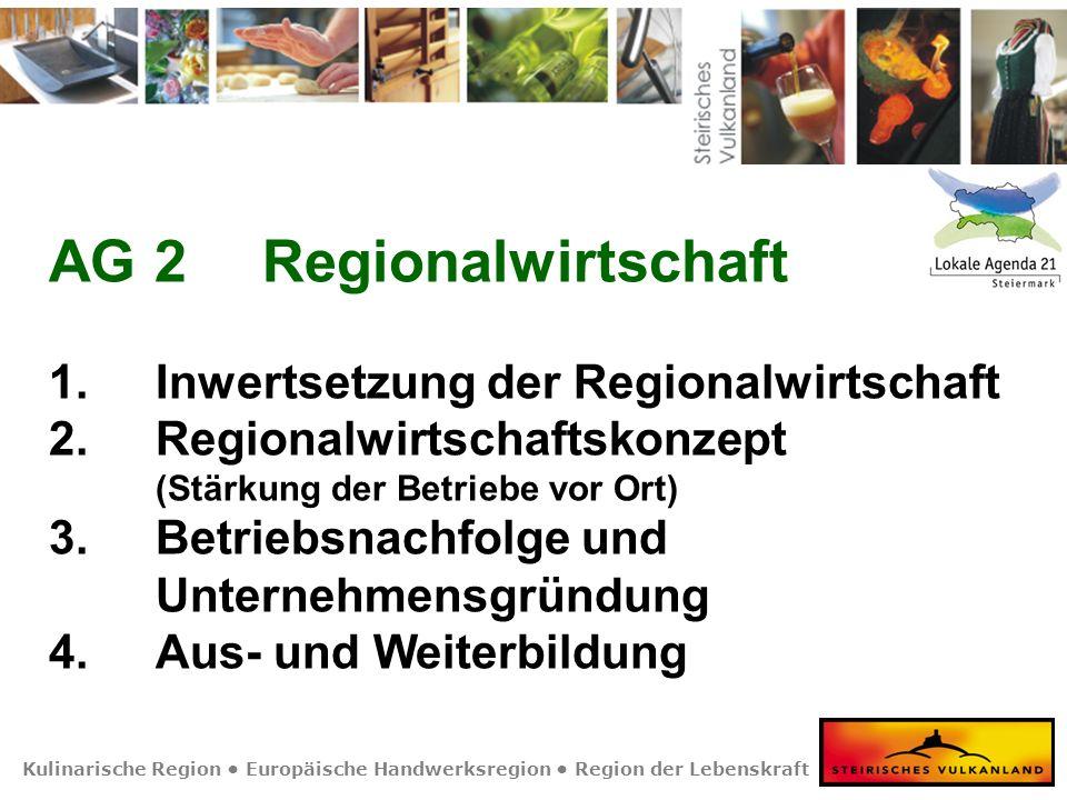 Kulinarische Region Europäische Handwerksregion Region der Lebenskraft AG 2Regionalwirtschaft 1. Inwertsetzung der Regionalwirtschaft 2. Regionalwirts