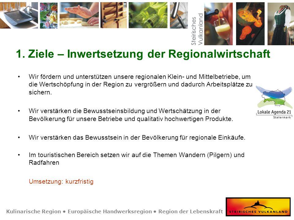 Kulinarische Region Europäische Handwerksregion Region der Lebenskraft 1. Ziele – Inwertsetzung der Regionalwirtschaft Wir fördern und unterstützen un