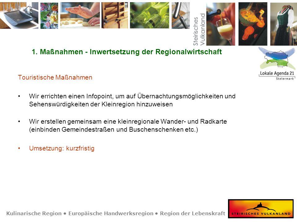 Kulinarische Region Europäische Handwerksregion Region der Lebenskraft 1. Maßnahmen - Inwertsetzung der Regionalwirtschaft Touristische Maßnahmen Wir