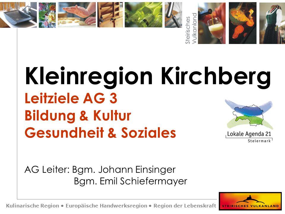 Kulinarische Region Europäische Handwerksregion Region der Lebenskraft Kleinregion Kirchberg Leitziele AG 3 Bildung & Kultur Gesundheit & Soziales AG Leiter: Bgm.