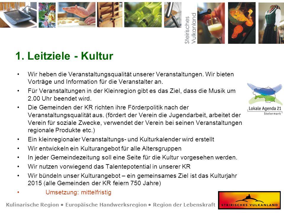 Kulinarische Region Europäische Handwerksregion Region der Lebenskraft 1. Leitziele - Kultur Wir heben die Veranstaltungsqualität unserer Veranstaltun