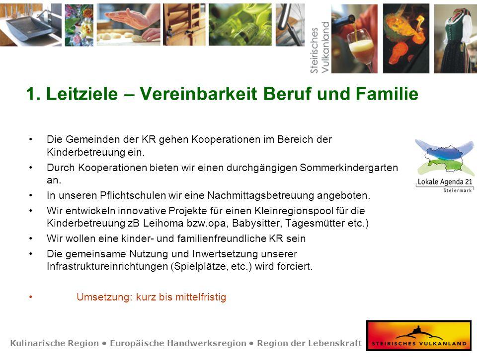 Kulinarische Region Europäische Handwerksregion Region der Lebenskraft 1. Leitziele – Vereinbarkeit Beruf und Familie Die Gemeinden der KR gehen Koope