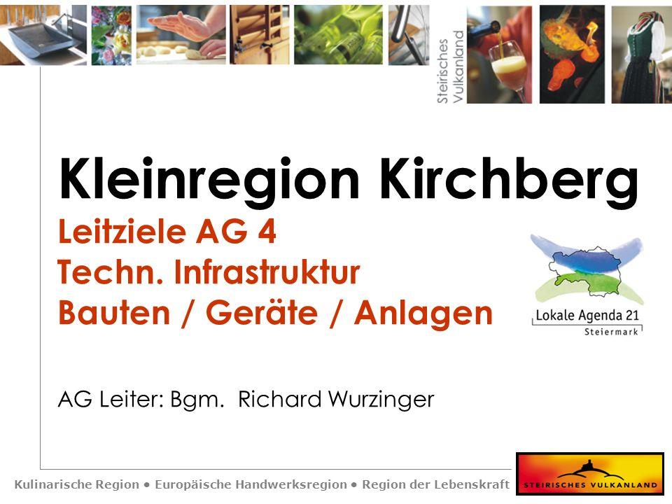 Kulinarische Region Europäische Handwerksregion Region der Lebenskraft Kleinregion Kirchberg Leitziele AG 4 Techn. Infrastruktur Bauten / Geräte / Anl