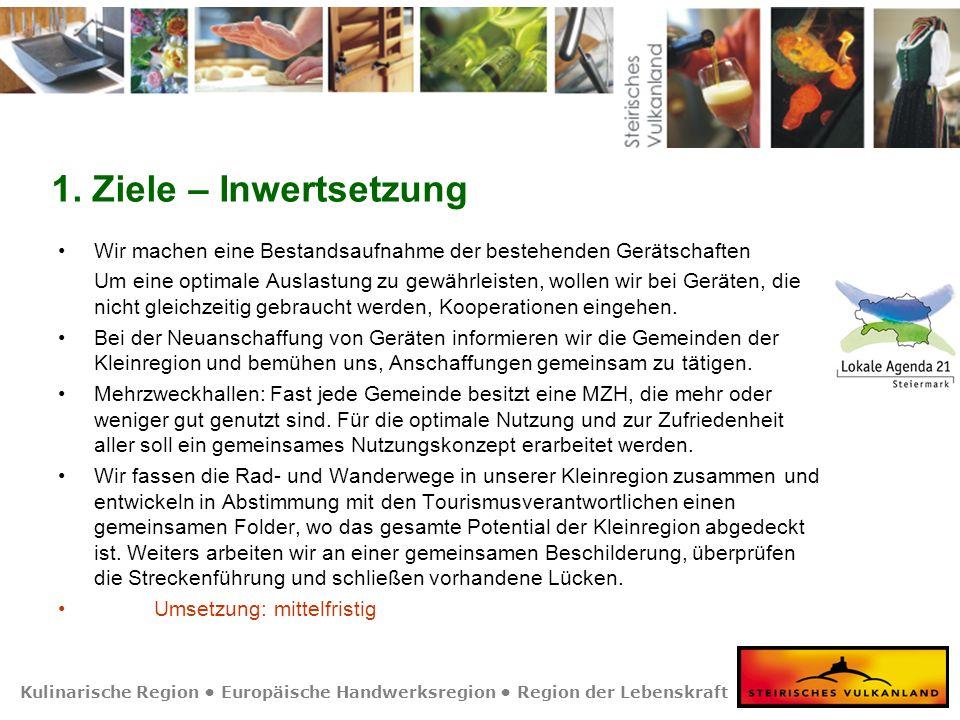 Kulinarische Region Europäische Handwerksregion Region der Lebenskraft 1. Ziele – Inwertsetzung Wir machen eine Bestandsaufnahme der bestehenden Gerät