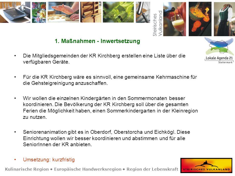 Kulinarische Region Europäische Handwerksregion Region der Lebenskraft 1. Maßnahmen - Inwertsetzung Die Mitgliedsgemeinden der KR Kirchberg erstellen