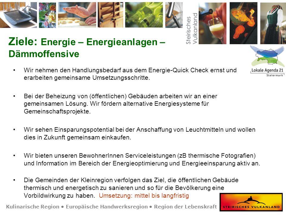 Kulinarische Region Europäische Handwerksregion Region der Lebenskraft Ziele: Energie – Energieanlagen – Dämmoffensive Wir nehmen den Handlungsbedarf aus dem Energie-Quick Check ernst und erarbeiten gemeinsame Umsetzungsschritte.