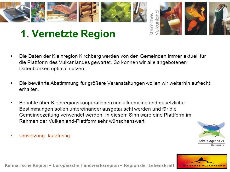 Kulinarische Region Europäische Handwerksregion Region der Lebenskraft 1. Vernetzte Region Die Daten der Kleinregion Kirchberg werden von den Gemeinde