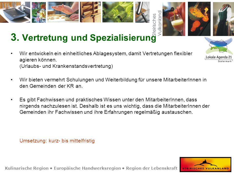 Kulinarische Region Europäische Handwerksregion Region der Lebenskraft 3. Vertretung und Spezialisierung Wir entwickeln ein einheitliches Ablagesystem