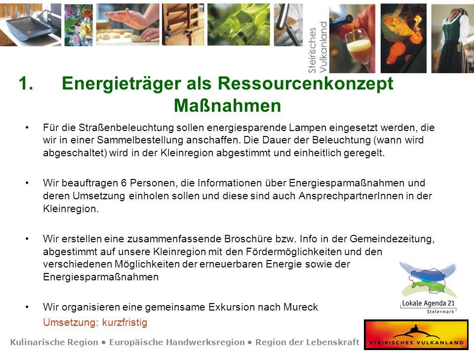 Kulinarische Region Europäische Handwerksregion Region der Lebenskraft 1.Energieträger als Ressourcenkonzept Maßnahmen Für die Straßenbeleuchtung sollen energiesparende Lampen eingesetzt werden, die wir in einer Sammelbestellung anschaffen.