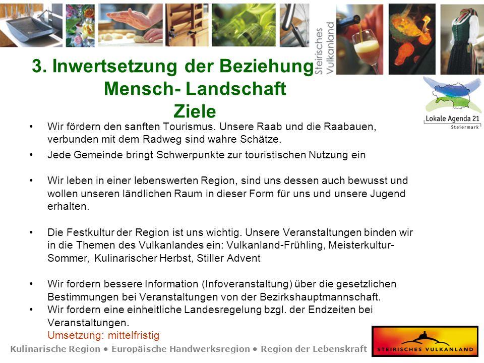 Kulinarische Region Europäische Handwerksregion Region der Lebenskraft 3. Inwertsetzung der Beziehung Mensch- Landschaft Ziele Wir fördern den sanften