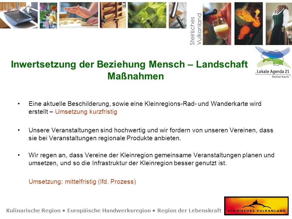 Kulinarische Region Europäische Handwerksregion Region der Lebenskraft Eine aktuelle Beschilderung, sowie eine Kleinregions-Rad- und Wanderkarte wird
