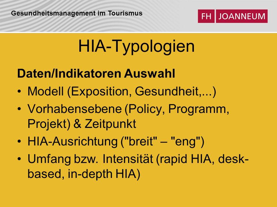 Gesundheitsmanagement im Tourismus HIA-Typologien Daten/Indikatoren Auswahl Modell (Exposition, Gesundheit,...) Vorhabensebene (Policy, Programm, Projekt) & Zeitpunkt HIA-Ausrichtung ( breit – eng ) Umfang bzw.