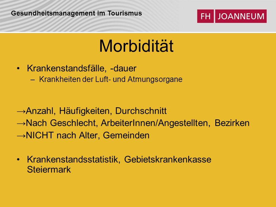 Gesundheitsmanagement im Tourismus Morbidität Krankenstandsfälle, -dauer –Krankheiten der Luft- und Atmungsorgane Anzahl, Häufigkeiten, Durchschnitt N