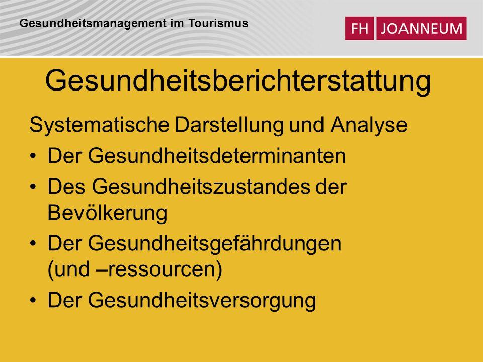 Gesundheitsmanagement im Tourismus Gesundheitsberichterstattung Systematische Darstellung und Analyse Der Gesundheitsdeterminanten Des Gesundheitszust