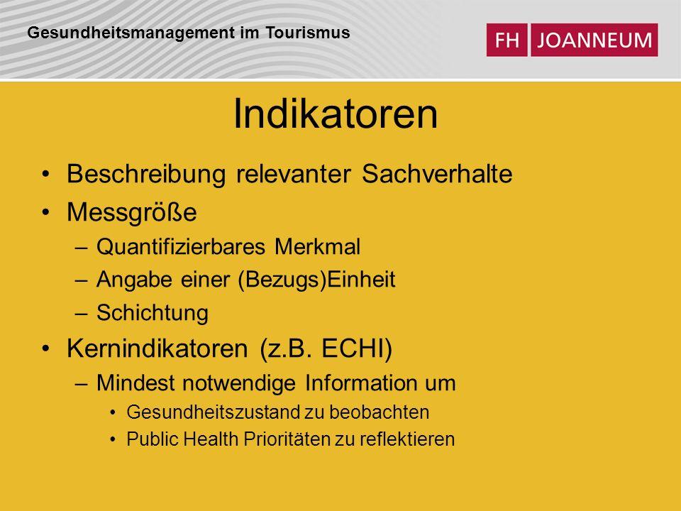Gesundheitsmanagement im Tourismus Indikatoren Beschreibung relevanter Sachverhalte Messgröße –Quantifizierbares Merkmal –Angabe einer (Bezugs)Einheit –Schichtung Kernindikatoren (z.B.