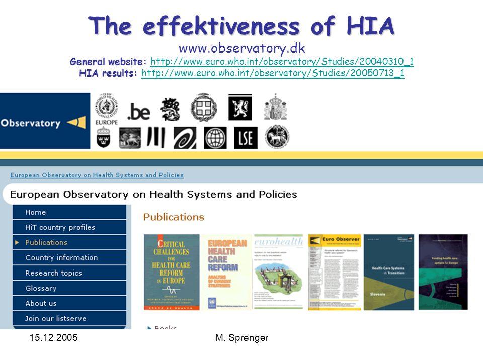 15.12.2005M. Sprenger The effektiveness of HIA General website: HIA results: The effektiveness of HIA www.observatory.dk General website: http://www.e