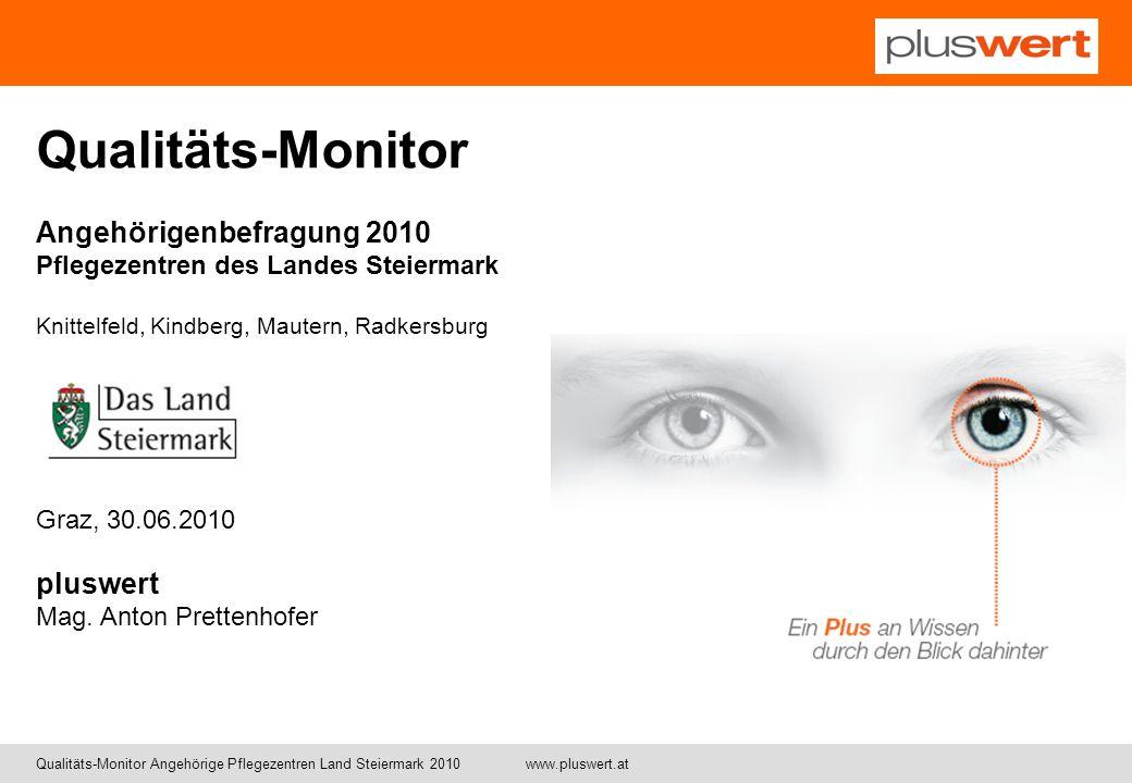 Qualitäts-Monitor Angehörige Pflegezentren Land Steiermark 2010 www.pluswert.at Qualitäts-Monitor Angehörigenbefragung 2010 Pflegezentren des Landes S