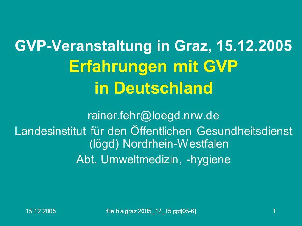 15.12.2005file:hia graz 2005_12_15.ppt[05-6]1 GVP-Veranstaltung in Graz, 15.12.2005 Erfahrungen mit GVP in Deutschland rainer.fehr@loegd.nrw.de Landesinstitut für den Öffentlichen Gesundheitsdienst (lögd) Nordrhein-Westfalen Abt.