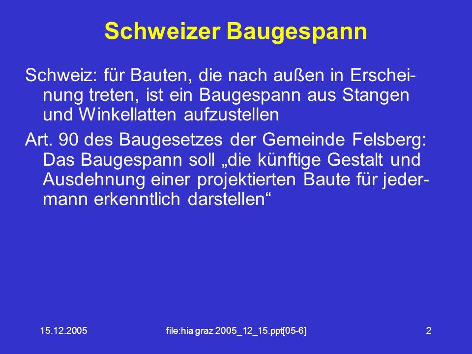 15.12.2005file:hia graz 2005_12_15.ppt[05-6]2 Schweizer Baugespann Schweiz: für Bauten, die nach außen in Erschei- nung treten, ist ein Baugespann aus Stangen und Winkellatten aufzustellen Art.