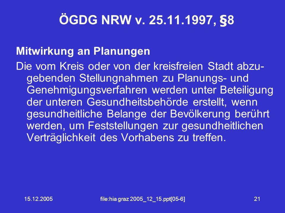 15.12.2005file:hia graz 2005_12_15.ppt[05-6]21 ÖGDG NRW v.