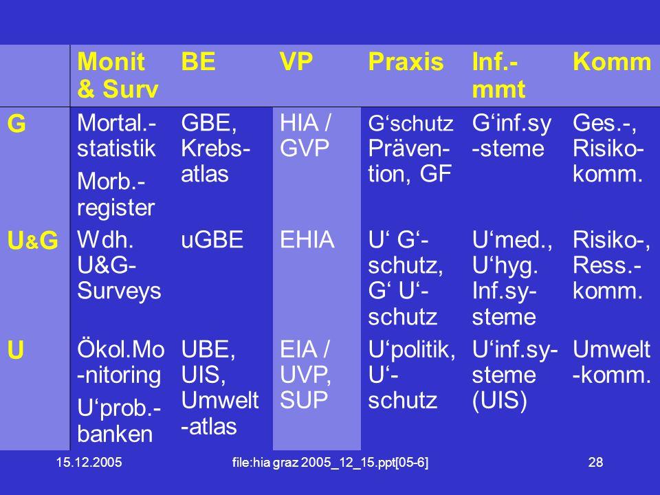15.12.2005file:hia graz 2005_12_15.ppt[05-6]28 Monit & Surv BEVPPraxisInf.- mmt Komm G Mortal.- statistik Morb.- register GBE, Krebs- atlas HIA / GVP Gschutz Präven- tion, GF Ginf.sy -steme Ges.-, Risiko- komm.