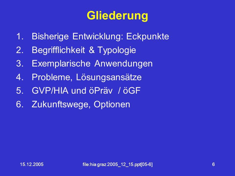 15.12.2005file:hia graz 2005_12_15.ppt[05-6]6 Gliederung 1.Bisherige Entwicklung: Eckpunkte 2.Begrifflichkeit & Typologie 3.Exemplarische Anwendungen 4.Probleme, Lösungsansätze 5.GVP/HIA und öPräv / öGF 6.Zukunftswege, Optionen
