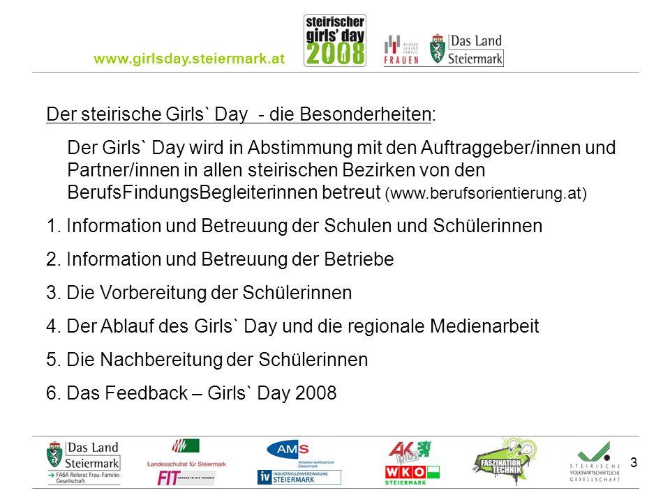 www.girlsday.steiermark.at 3 Der steirische Girls` Day - die Besonderheiten: Der Girls` Day wird in Abstimmung mit den Auftraggeber/innen und Partner/innen in allen steirischen Bezirken von den BerufsFindungsBegleiterinnen betreut (www.berufsorientierung.at) 1.