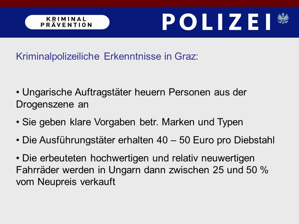 Kriminalpolizeiliche Erkenntnisse in Graz: Ungarische Auftragstäter heuern Personen aus der Drogenszene an Sie geben klare Vorgaben betr. Marken und T