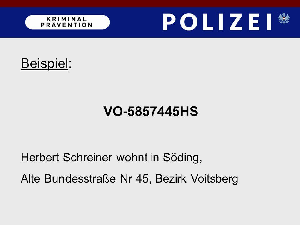 Beispiel Beispiel: VO-5857445HS Herbert Schreiner wohnt in Söding, Alte Bundesstraße Nr 45, Bezirk Voitsberg