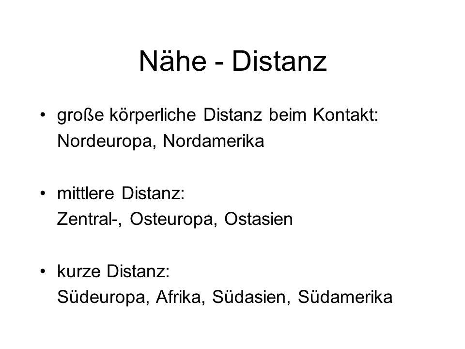 Nähe - Distanz große körperliche Distanz beim Kontakt: Nordeuropa, Nordamerika mittlere Distanz: Zentral-, Osteuropa, Ostasien kurze Distanz: Südeurop