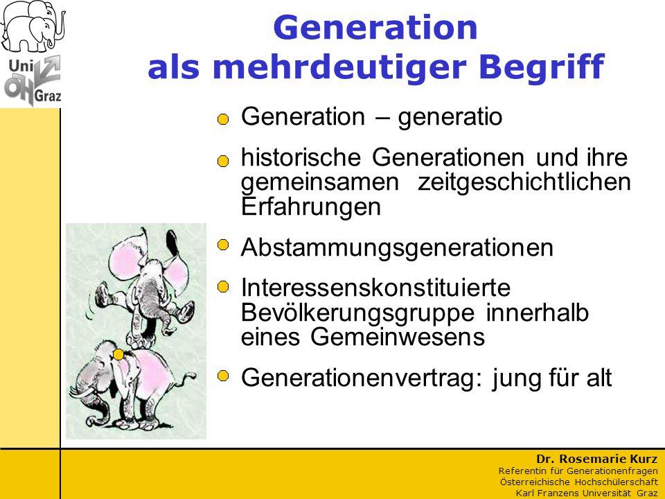 Dr. Rosemarie Kurz Referentin für Generationenfragen Österreichische Hochschülerschaft Karl Franzens Universität Graz Generation – generatio historisc