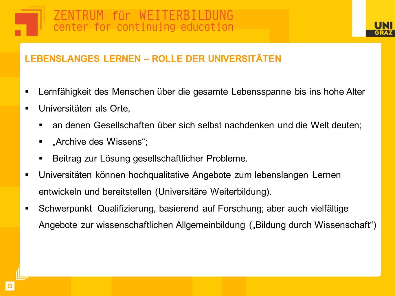 LEBENSLANGES LERNEN – ROLLE DER UNIVERSITÄTEN Lernfähigkeit des Menschen über die gesamte Lebensspanne bis ins hohe Alter Universitäten als Orte, an d
