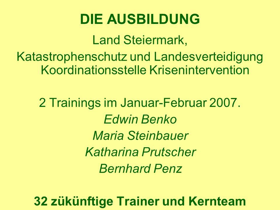 DIE AUSBILDUNG Land Steiermark, Katastrophenschutz und Landesverteidigung Koordinationsstelle Krisenintervention 2 Trainings im Januar-Februar 2007.