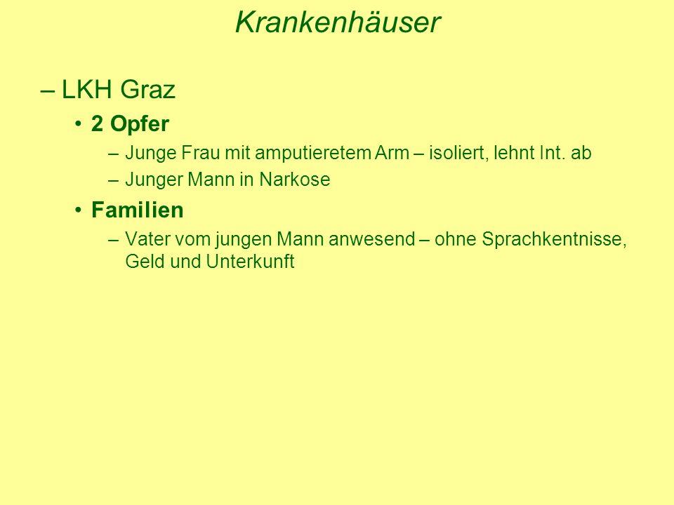 Krankenhäuser –LKH Graz 2 Opfer –Junge Frau mit amputieretem Arm – isoliert, lehnt Int.