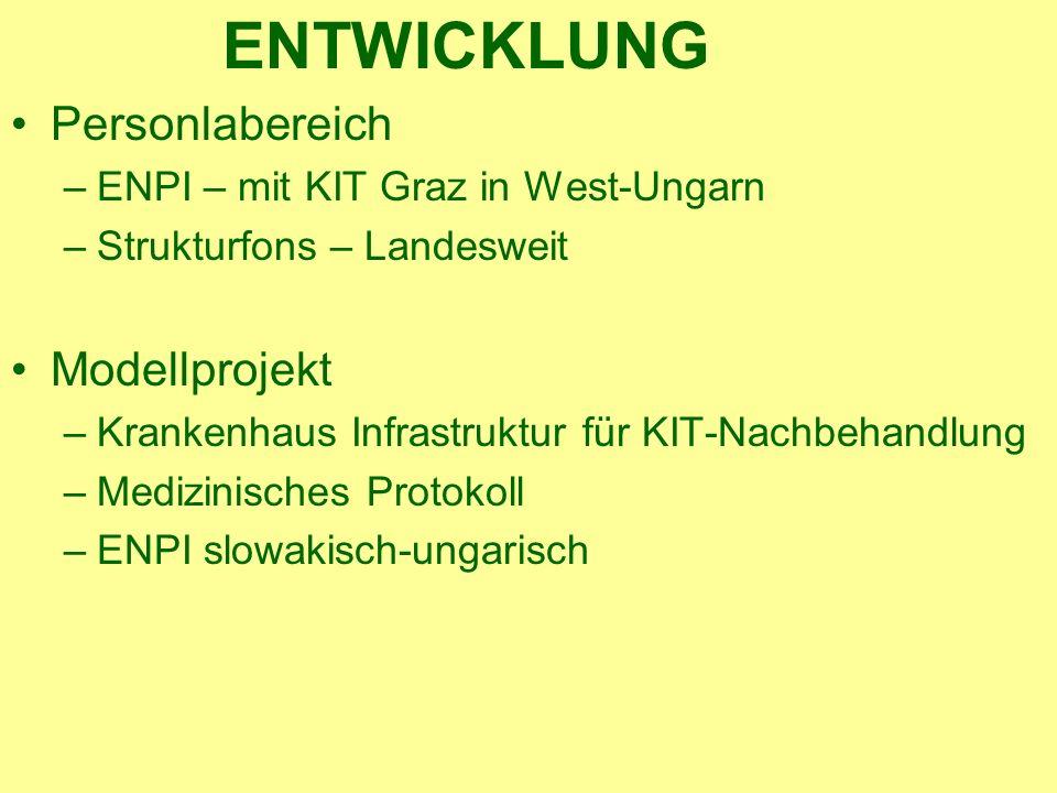 ENTWICKLUNG Personlabereich –ENPI – mit KIT Graz in West-Ungarn –Strukturfons – Landesweit Modellprojekt –Krankenhaus Infrastruktur für KIT-Nachbehandlung –Medizinisches Protokoll –ENPI slowakisch-ungarisch