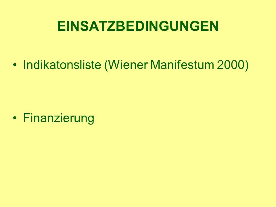 EINSATZBEDINGUNGEN Indikatonsliste (Wiener Manifestum 2000) Finanzierung