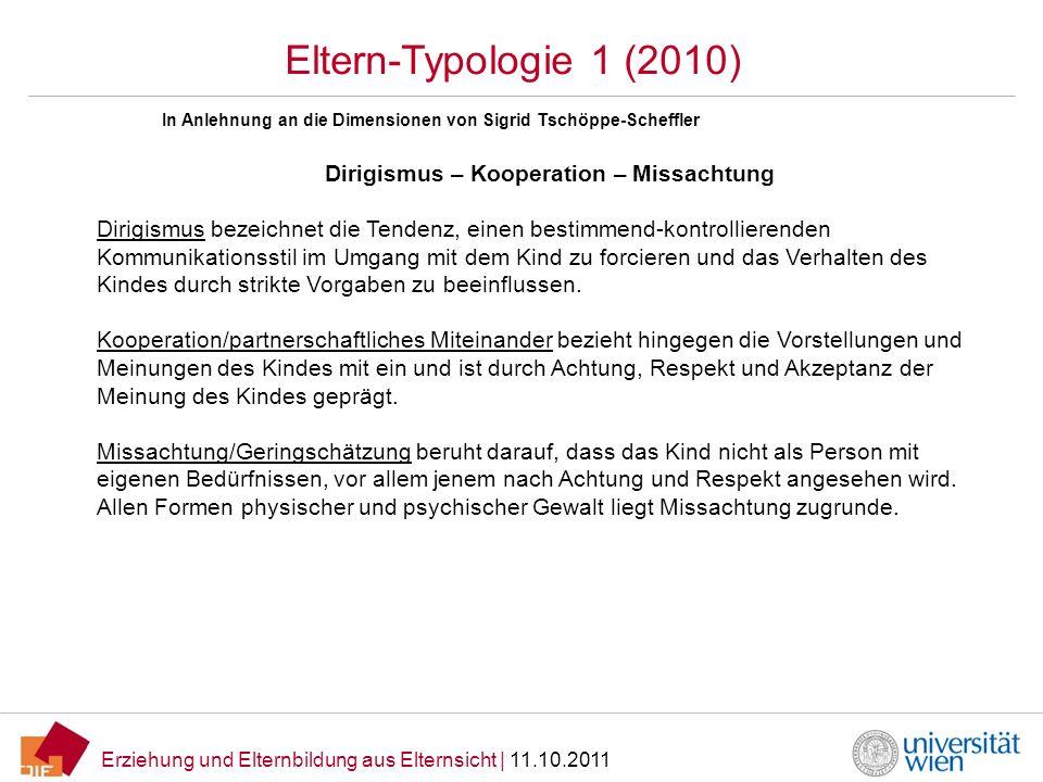 Erziehung und Elternbildung aus Elternsicht | 11.10.2011 Eltern-Typologie 1 (2010) Dirigismus – Kooperation – Missachtung Dirigismus bezeichnet die Te