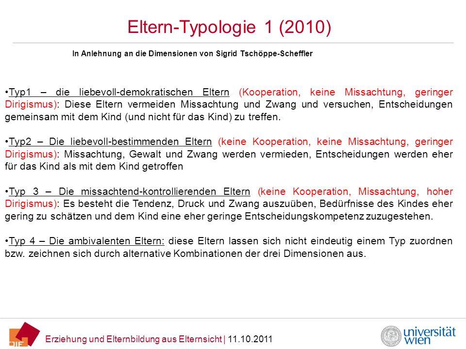 Erziehung und Elternbildung aus Elternsicht   11.10.2011 Eltern-Typologie 1 (2010) Typ1 – die liebevoll-demokratischen Eltern (Kooperation, keine Miss