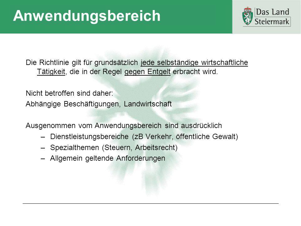 Themen der Dienstleistungsrichtlinie Praktische Erleichterungen für Dienstleistungs- erbringer Europäische Qualitätssiegel und Verhaltens- kodizes Europäische Verwaltungs- zusammenarbeit Normenprüfung
