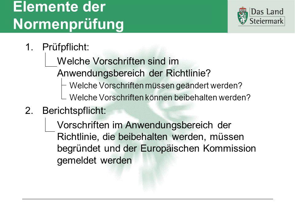 Elemente der Normenprüfung 1.Prüfpflicht: Welche Vorschriften sind im Anwendungsbereich der Richtlinie.