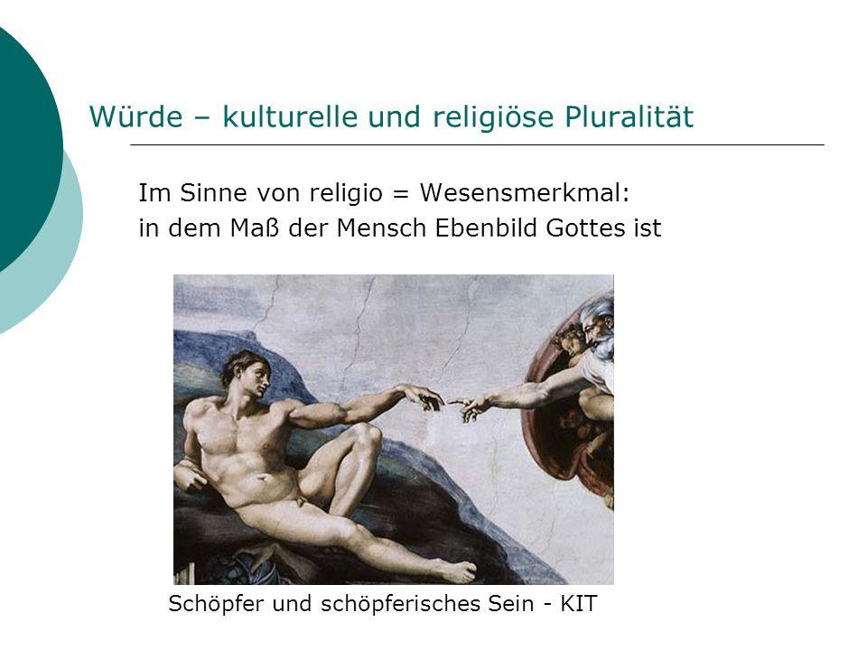 Würde – kulturelle und religiöse Pluralität Im Sinne von religio = Wesensmerkmal: in dem Maß der Mensch Ebenbild Gottes ist Schöpfer und schöpferische