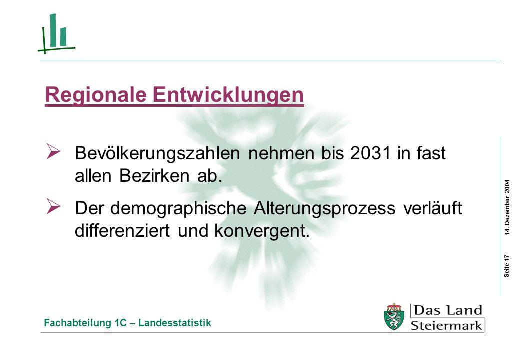 14. Dezember 2004 Fachabteilung 1C – Landesstatistik Regionale Entwicklungen Bevölkerungszahlen nehmen bis 2031 in fast allen Bezirken ab. Der demogra