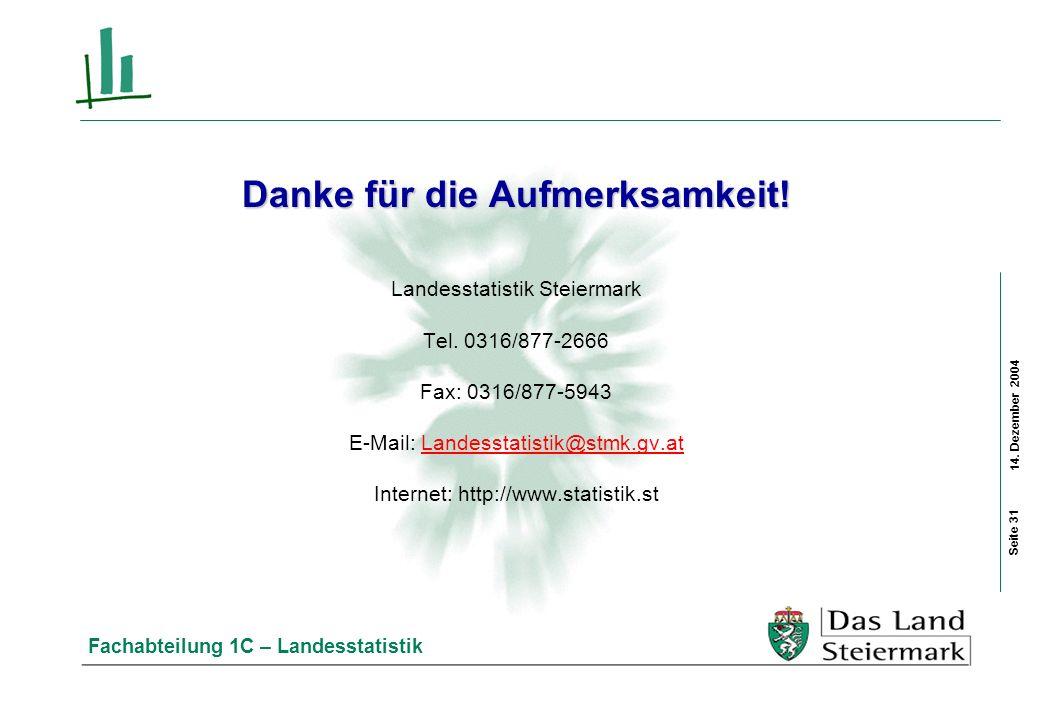 14. Dezember 2004 Fachabteilung 1C – Landesstatistik Danke für die Aufmerksamkeit! Landesstatistik Steiermark Tel. 0316/877-2666 Fax: 0316/877-5943 E-