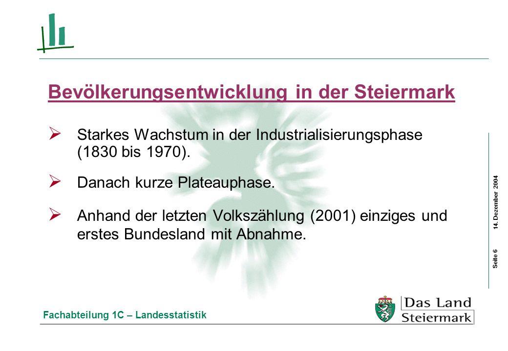 14. Dezember 2004 Fachabteilung 1C – Landesstatistik Bevölkerungsentwicklung in der Steiermark Starkes Wachstum in der Industrialisierungsphase (1830
