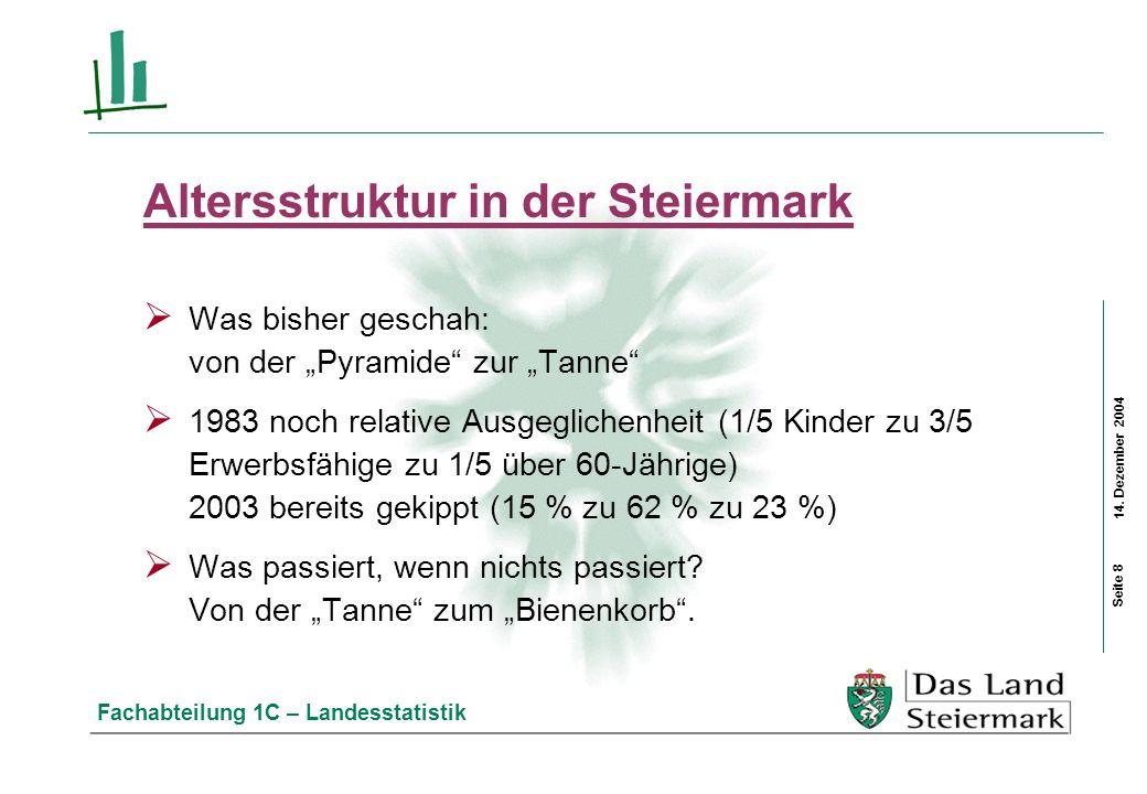 14. Dezember 2004 Fachabteilung 1C – Landesstatistik Altersstruktur in der Steiermark Was bisher geschah: von der Pyramide zur Tanne 1983 noch relativ
