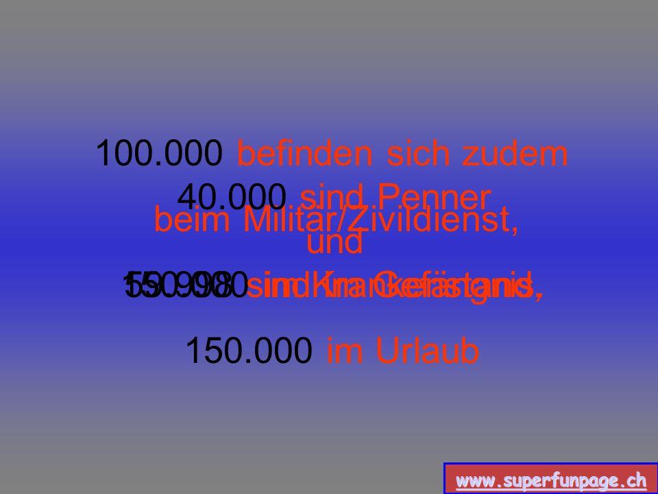 www.superfunpage.ch Dann sind da aber noch 0.5 Millionen Arbeitslose, 0.5 Millionen Beamte, (die auch kaum etwas tun) sowie 1.5Millionen Hausfrauen bz