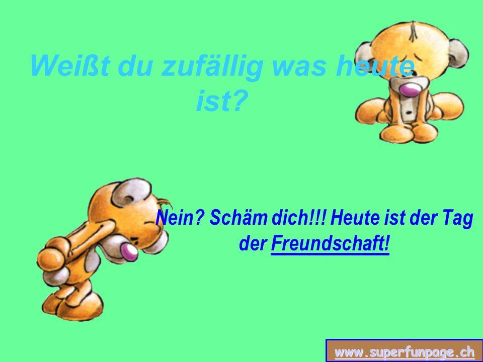 www.superfunpage.ch Weißt du zufällig was heute ist? Nein? Schäm dich!!! Heute ist der Tag der Freundschaft!