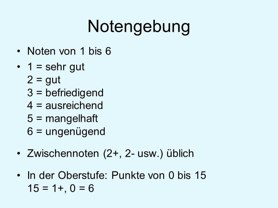 Notengebung Noten von 1 bis 6 1 = sehr gut 2 = gut 3 = befriedigend 4 = ausreichend 5 = mangelhaft 6 = ungenügend Zwischennoten (2+, 2- usw.) üblich I