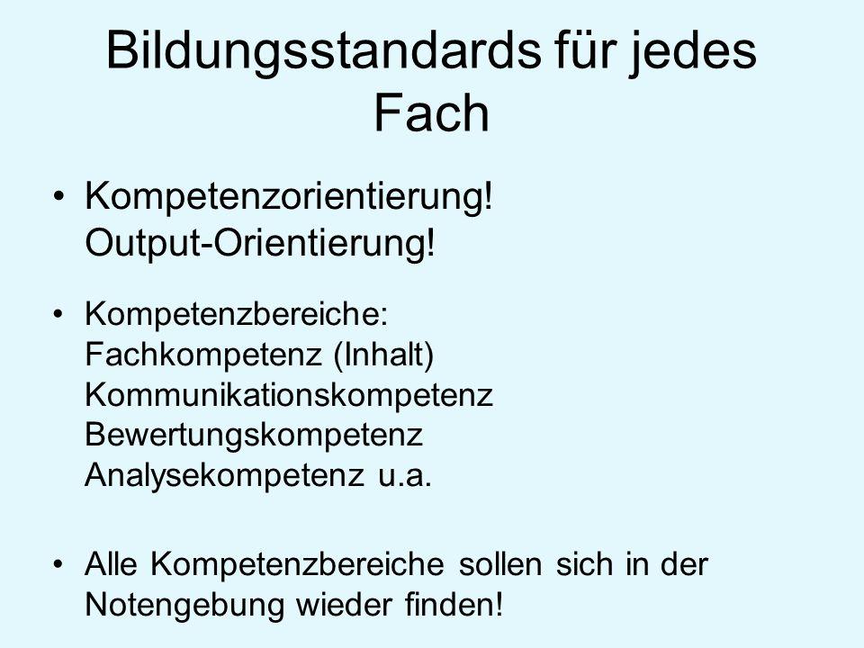 Bildungsstandards für jedes Fach Kompetenzorientierung! Output-Orientierung! Kompetenzbereiche: Fachkompetenz (Inhalt) Kommunikationskompetenz Bewertu