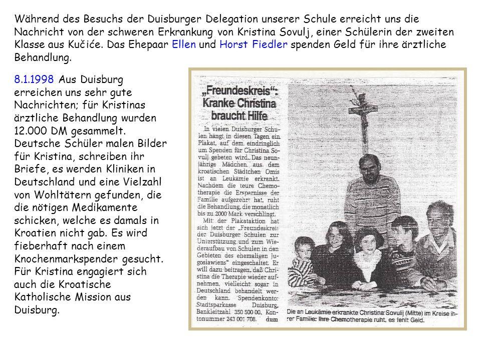 Während des Besuchs der Duisburger Delegation unserer Schule erreicht uns die Nachricht von der schweren Erkrankung von Kristina Sovulj, einer Schüler